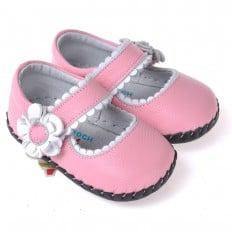 CAROCH - Chaussures premiers pas cuir souple | Sandales roses fleur argent