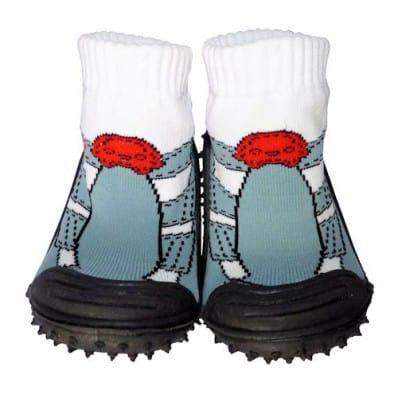 Hausschuhe - Socken Baby Kind geschmeidige Schuhsohle Junge   Graue Turnschuhe