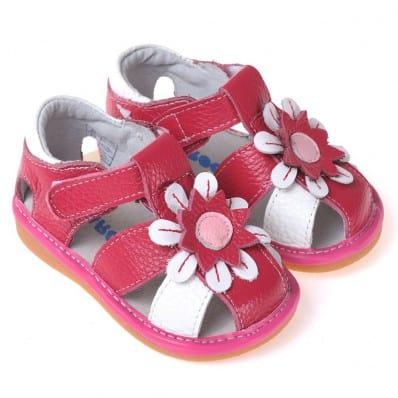 CAROCH - Chaussures semelle souple Sandales rouge et blanches