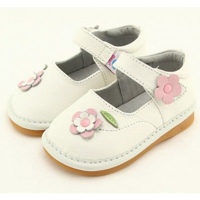 FREYCOO - Zapatos de cuero chirriantes - squeaky shoes niñas | Babies blancas a flores