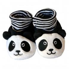 Chaussons chaussettes bébé 0-6 mois toile et tissu | Panda