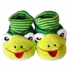Chaussons chaussettes bébé 0-6 mois toile et tissu | Grenouille