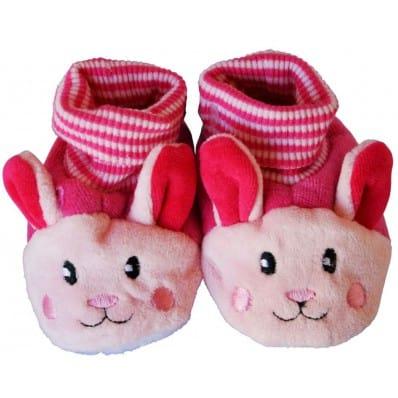 Babyschuhe baumwolle mädchen | Rosa Kaninchen