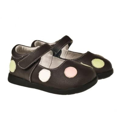 Little Blue Lamb - Soft sole girls Toddler kids baby shoes | Brown with dots