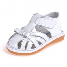 CAROCH - Squeaky Leather Toddler Girls Shoes   White closed sandals