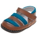 Little Blue Lamb - Baby boys first steps soft leather shoes | Brown and blue sandals