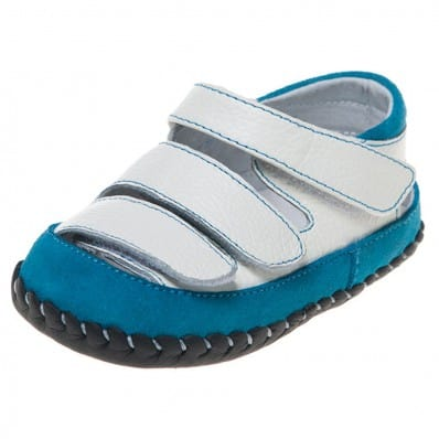 Little Blue Lamb - Baby boys first steps soft leather shoes | Blue and white sandals