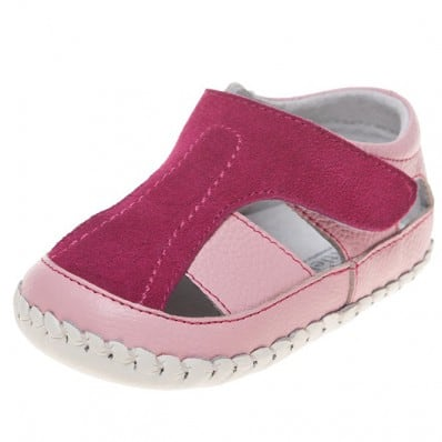 Little Blue Lamb - Baby girls first steps soft leather shoes | Pink and fushia sandals