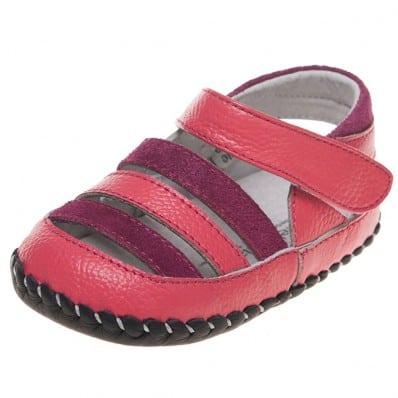 Little Blue Lamb - Chaussures 1er pas cuir souple | Sandales fushia et rose
