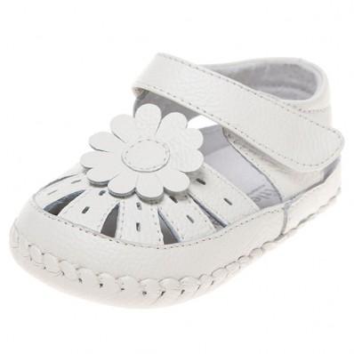Little Blue Lamb - Zapatos de bebe primeros pasos de cuero niñas | Sandalias blancas flor blanca
