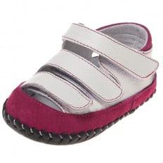 Little Blue Lamb - Chaussures 1er pas cuir souple   Sandales blanches 3 velcro