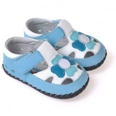 CAROCH - Chaussures 1er pas cuir souple | Sandales bleu et blanc