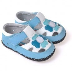 CAROCH - Scarpine primi passi bimba in morbida pelle | Blu e bianco sandali