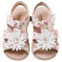 Little Blue Lamb - Soft sole girls Toddler kids baby shoes | White marguerite sandals