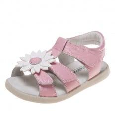 Little Blue Lamb - Zapatos de suela de goma blanda niñas | Sandalias rosa margarita blanca