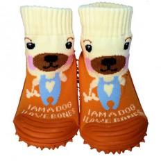 Hausschuhe - Socken Baby Kind geschmeidige Schuhsohle Junge | Rote KappeOrangefarbiger Hund