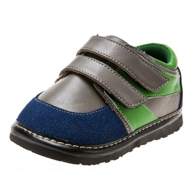 Little Blue Lamb - Squeaky Leather Toddler boys Shoes | Grey green
