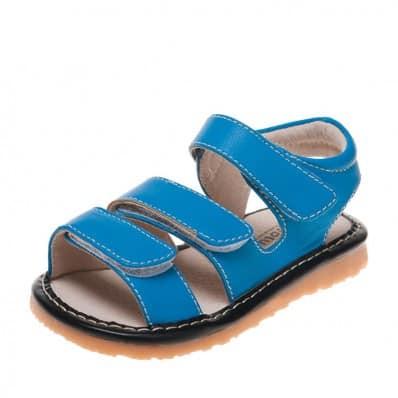 Little Blue Lamb - Krabbelschuhe Babyschuhe squeaky Leder - Jungen | Sandalen blau 3 velcro