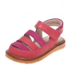 Little Blue Lamb - Squeaky Leather Toddler Girls Shoes | Orange and fushia sandals
