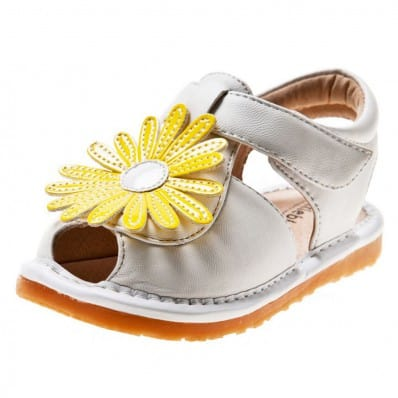 Little Blue Lamb - Squeaky Leather Toddler Girls Shoes | White sandals marguerite