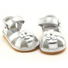 FREYCOO - Zapatos de cuero chirriantes - squeaky shoes niñas | Sandalias plateadas