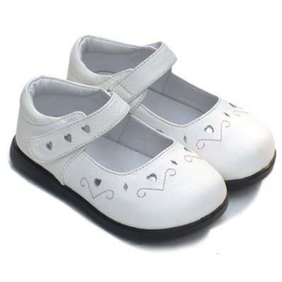 Little Blue Lamb - Zapatos de suela de goma blanda niñas | Corazón blanco dinero ceremonia