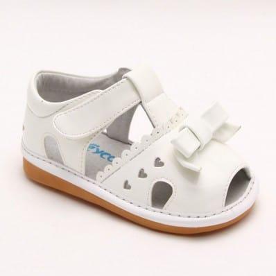 FREYCOO - Scarpine bimba primi passi con fischietto | Sandali bianchi 3 piccoli cuori