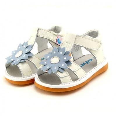 FREYCOO - Scarpine bimba primi passi con fischietto | Sandali bianco con blu fiore
