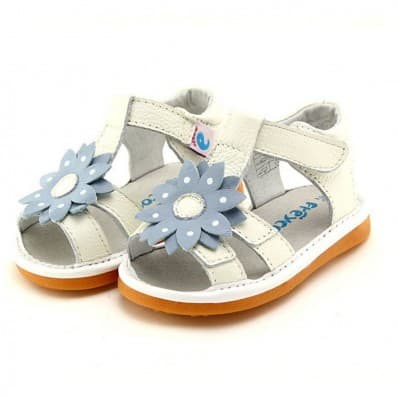 FREYCOO - Squeaky Leather Toddler Girls Shoes | White sandals with blue flower