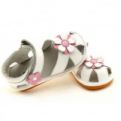 FREYCOO - Chaussures à sifflet | Sandales blanches fleur rose et blanche