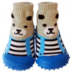 Chaussons-chaussettes enfant antidérapants semelle souple | Ours gris