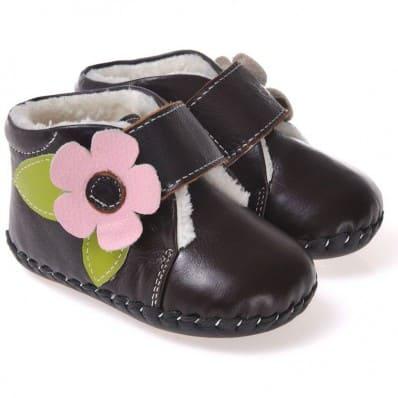 CAROCH - Zapatos de bebe primeros pasos de cuero niñas | Montantes negras forradas flor rosa