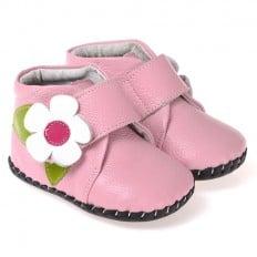 CAROCH - Chaussures premiers pas cuir souple   Montantes rose fleur blanche