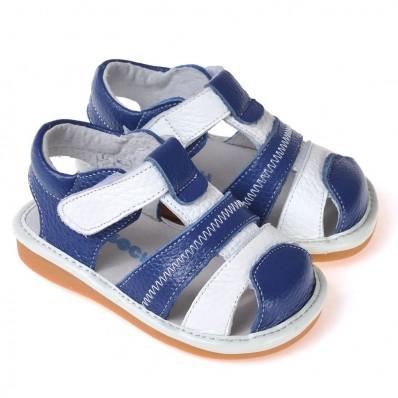 CAROCH - Krabbelschuhe Babyschuhe squeaky Leder - Jungen | Blau sandalen mit weißer streifen
