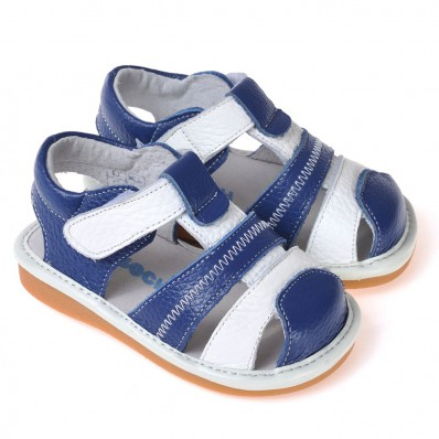 CAROCH - Squeaky Leather Toddler boys Shoes | Blue sandals white strip