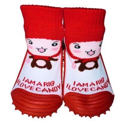 Hausschuhe - Socken Baby Kind geschmeidige Schuhsohle Mädchen | Rote Kappe