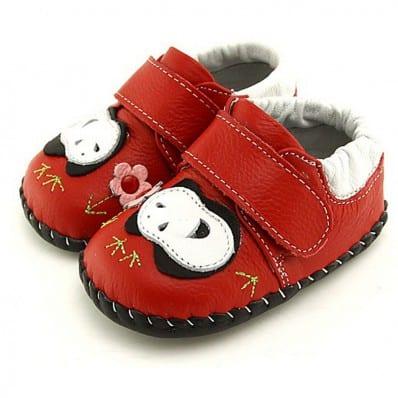 FREYCOO - Zapatos de bebe primeros pasos de cuero niños   Panda rojo