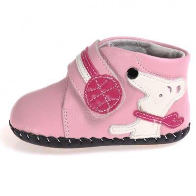 CAROCH - Chaussures premiers pas cuir souple | Montantes rose petit chien C2BB - chaussons, chaussures, chaussettes pour bébé
