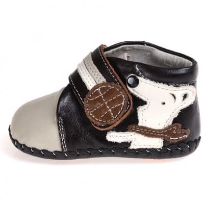 CAROCH - Krabbelschuhe Babyschuhe Leder - Jungen   Grau stiefe kleiner hund