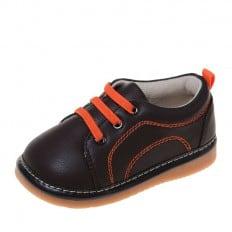 Little Blue Lamb - Zapatos de cuero chirriantes - squeaky shoes niños | Zapatillas de deporte marrones y anaranjadas
