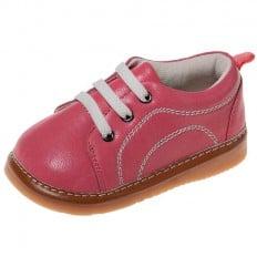 Little Blue Lamb - Zapatos de cuero chirriantes - squeaky shoes niñas | Zapatillas de deporte rosa lanzado con cordones blanco