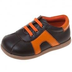 Little Blue Lamb - Zapatos de suela de goma blanda niños | Zapatillas de deporte anaranjadas y marrones