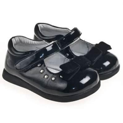 Little Blue Lamb - Chaussures semelle souple | Noeud noir cérémonie