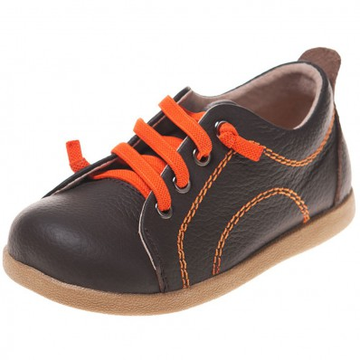Little Blue Lamb - Soft sole boys Toddler kids baby shoes | Brown with orange laces