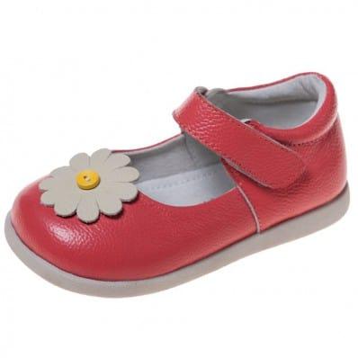 Little Blue Lamb - Zapatos de suela de goma blanda niñas | Rosa margarita blanca