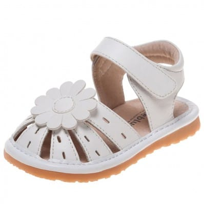 Little Blue Lamb - Squeaky Leather Toddler Girls Shoes | Sandals marguerite white ceremony