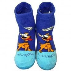 Hausschuhe - Socken Baby Kind geschmeidige Schuhsohle Junge | Dog miam blau