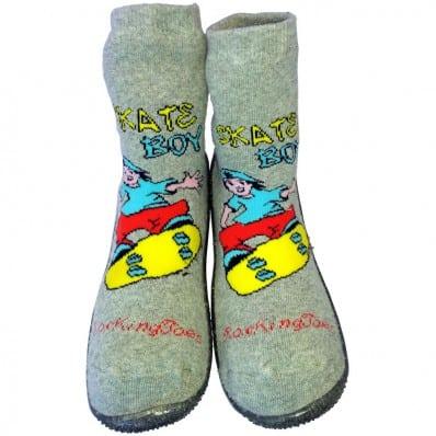 Scarpine calzini antiscivolo bambini - ragazzo | Skate boy grigio