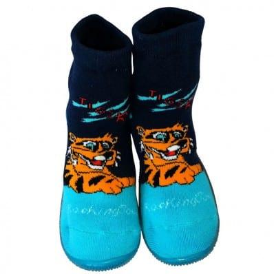 Chaussons-chaussettes enfant antidérapants semelle souple | Tigre bleu