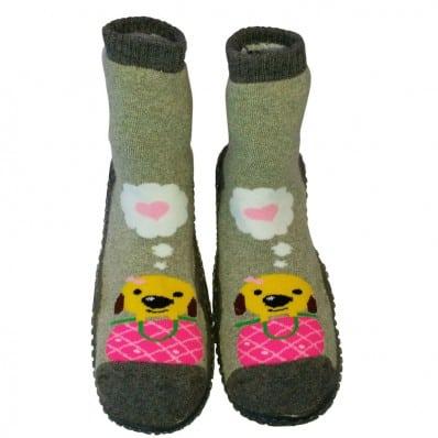 Hausschuhe - Socken Baby Kind geschmeidige Schuhsohle Mädchen | Sweety dog grau